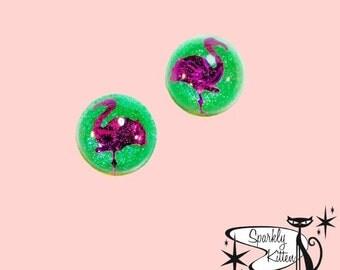 The Flamingo earrings in lime green and fushia