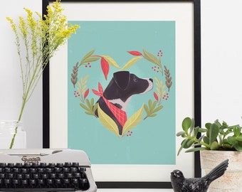 "Black Dog Love Print, Dog Art, Heart Print, Dog Illustration, Dog Painting, Wall Art, Nursery Art, Dog Lover, Archival Print, ""8.5x11"""