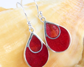 Sterling Silver, Red Coral Earrings, Bohemian Style, small Dangle - #es292