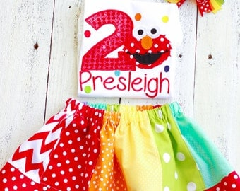 Rainbow Elmo inspired Birthday Outfit-Personalized