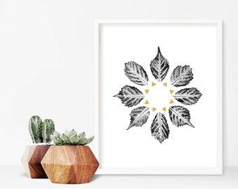 "Modern Wall Art, Gold Art Print, Leaf Art Print, Minimal Art, Botanical Art, Nature Art Print, Plant Wall Art, Geometric Art Print, 9"" x 12"""