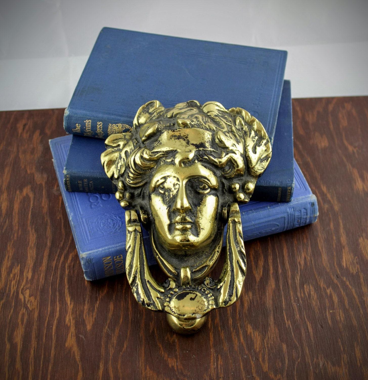 Antique large brass door knocker vintage woman head metal - Vintage brass door knocker ...