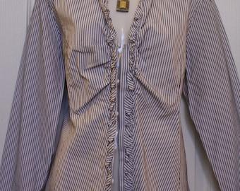 100% Cotton Ruffle Shirt, Blouse by Talbots Petites, Size 16