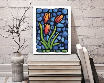 Tulip Art Print -  Orange & Red Tulips on Sky Blue Background - Wall Hanging - 8 x 10 inch - Signed by Artist Kathy Lycka