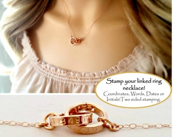 Personalized Linked Rings Necklace | Coordinates latitude longitude Location GPS | Linked Infinity Rings | 2 3 4 Sisters gifts