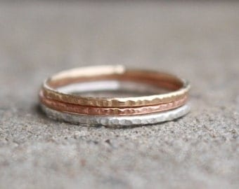 Set of three Rings 14 K Gold and Sterling Silver