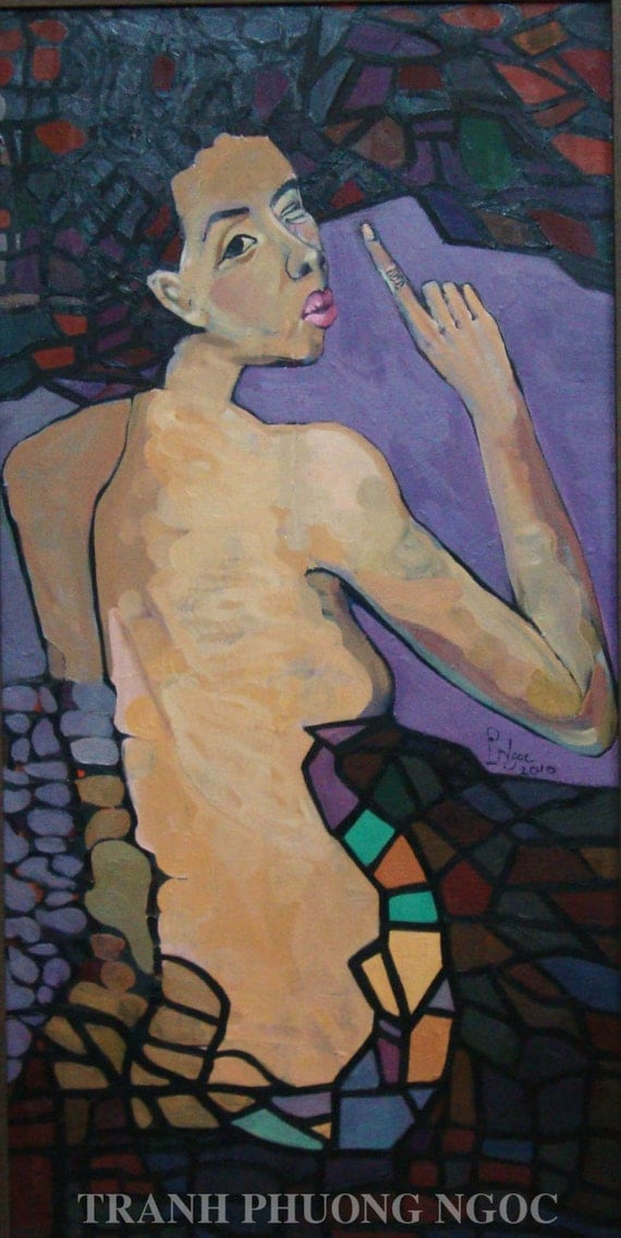 """SECRET 20x39"""" oil on canvas, nude art, wall decor, original painting by Nguyen Ly Phuong Ngoc"""