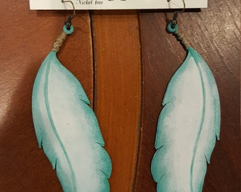 Hand Painted Feather Earrings