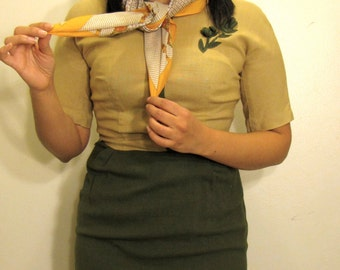 1960s Vintage pencil dress included with vintage scarf