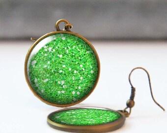 Green Glitter Earrings, 25 mm 1 Inch Round Dangle Statement Earrings, Bohemian Resin Jewelry, Bridesmaid gift, 5016-A06
