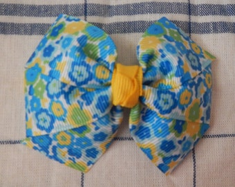Blue/Yellow Flower Bow, Blue Bow, Yellow Bow, Flower Bow, Girl's Bow