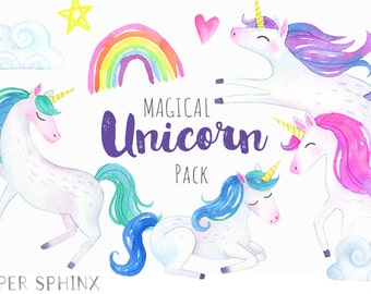 Rainbow Unicorn Clipart | Watercolor Unicorn Clip Art - Magical Fairytale Graphics - Girly Hearts, Stars, Clouds - Digital PNG Files
