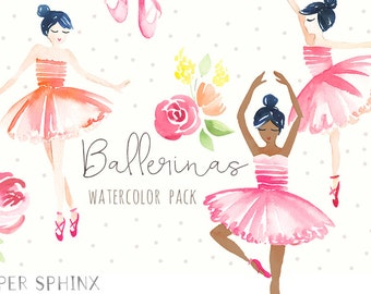 Watercolor Ballerina Clipart | Dance and Ballet Shoes Clip Art - Floral Ballerinas - Multiple Skintones - Instant Download Digital PNG Files