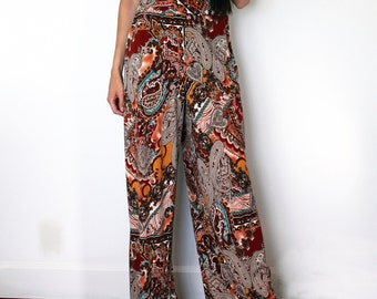Wide Leg Paisley Palazzo Pant - 70's Inspired Stretch Pant