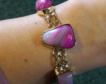 Vintage Sterling Silver Pink Quartz Bracelet