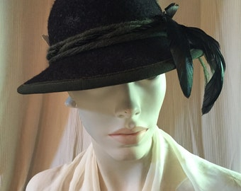 1950's Vintage Charcoal Grey Loden Hat with Feathers ~ Traditional German Austrian Bavarian Tyrolean Style ~ Octoberfest Accessory