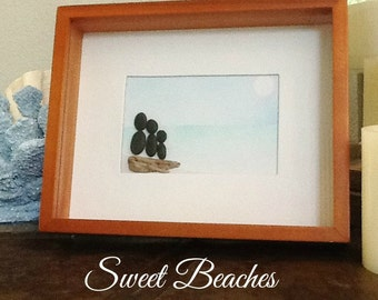 "Pebble Art  "" Together  ""  Beach Decor Stone Rock People Baby Shower Gift"