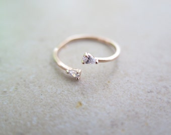 Delicate Sterlig silver Adjustable CZ Ring / Drop shape cz open ring / Dainty CZ ring / Dual Silver Ring / 925 simple silver ring