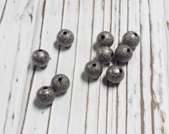 Stardust Beads, Brass Beads, Black Foil Beads, Loose Beads, 10 mm Beads, Destash, Overstock, DIY - 10 pcs