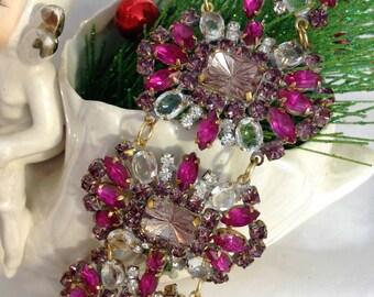 Vintage Fuchsia Rhinestone Cuff Bracelet,  Purple Rhinestone Bracelet, Vintage Purple Rhinestone Bracelet, Gift for Her, Estate Jewelry