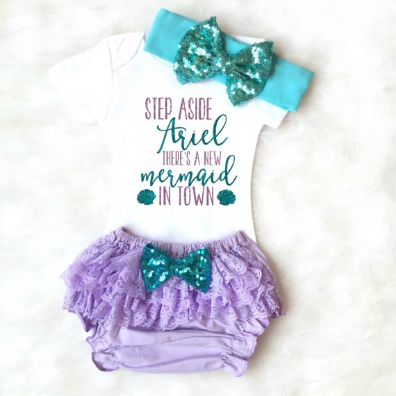 ariel mermaid baby bloomers mermaid outfit mermaid shirt baby shower