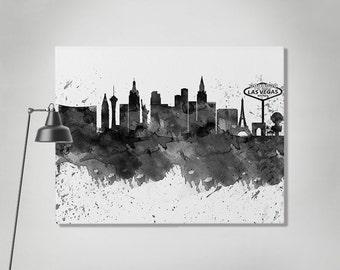 Las Vegas canvas art print, Las Vegas watercolor skyline, Las Vegas black & white, Art print Home decor Travel print Wall art ArtPrintCanvas