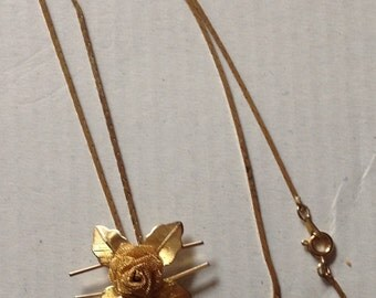 Vintage Rose Lariat Style Necklace Rose Gold Necklace Slide Necklace