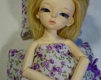 Bed linen for BJD 1/6 YOSD - purple flowers