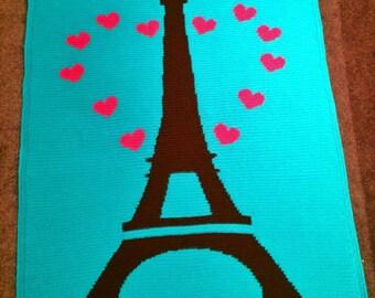 Loving the Eiffel Tower crochet blanket - PATTERN ONLY