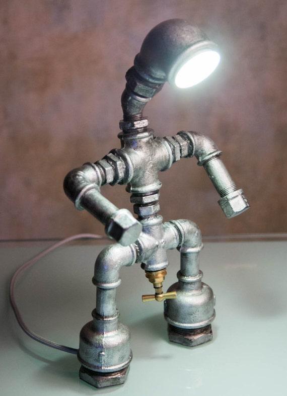 Robot Desk Lamp Industrial Pipe Light Man Cave Garage