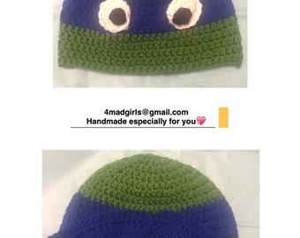 Teenage Mutant Ninja Turtle Crochet Hat - Crochet Ninja Turtle Hat -  Photo Prop  Character Hat  Raphael  Donatello  Leonardo  Michelangelo