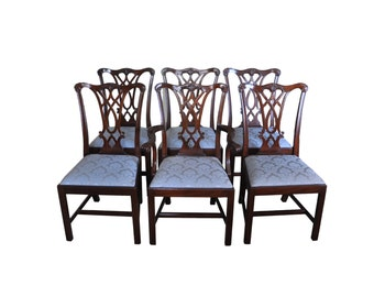 Set Of 6 Henkel Harris Model #107 Mahogany Dining Room Chairs