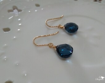 Elegant London Blue Quartz 14k Gold Filled Earrings Heart Shaped Briolette Earring As Like Topaz