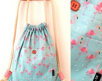 Drawstring bag, Vegan Bag, Shoulder Bag, blue bag, beach bag, gym bag, canvas bag, Drawstring backpack, String bag, gift for her, flamingo