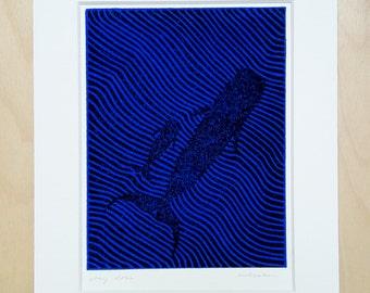 Stay close (black/blue); linocut; original