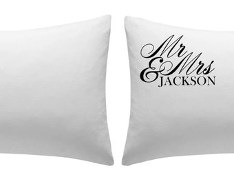 Pair of personalised white cotton pillowcases - Mr & Mrs (Surname)  wedding, birthday, couple, 2nd linen anniversary gift *FREE SHIPPING*