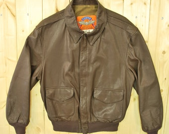 Vintage 1980's COOPER Leather A2 Style Bomber Jacket / Retro Collectable Rare