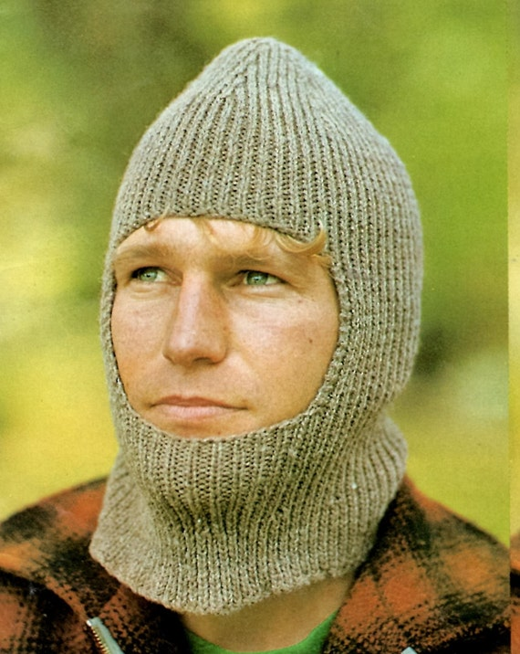Vintage Man\'s Knit Balaclava PATTERN, Man\'s Knit Helmet Hat PATTERN ...