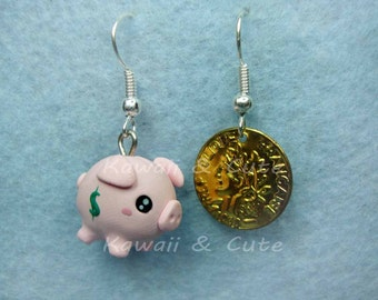 Earrings Piggy Bank and Coin