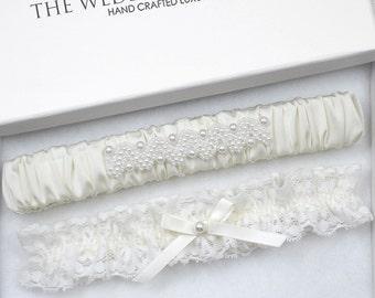 Ivory Wedding Garter Set, Wedding Garter, Lace Garter, Pearl Wedding Garter, Garter, Ivory Wedding Garter, Ivory Garter, Garter Set, Garter