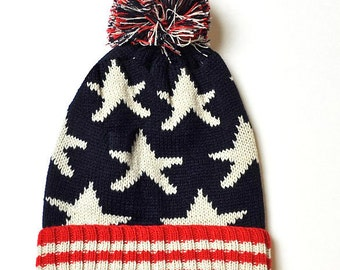 Usa Beanie, American Flag Beanie, Stars and Stripes Beanie, Pom Pom Beanie, Winter Beanie, Knit Beanie, Winter Hat, Unisex Beanie