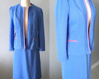 1960's Periwinkle Mad Men Skirt Suit by Marty Gutmadier