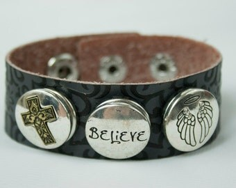 CLEARANCE! Button Up on Faith,  Leather Cuff Bracelet - adjustable