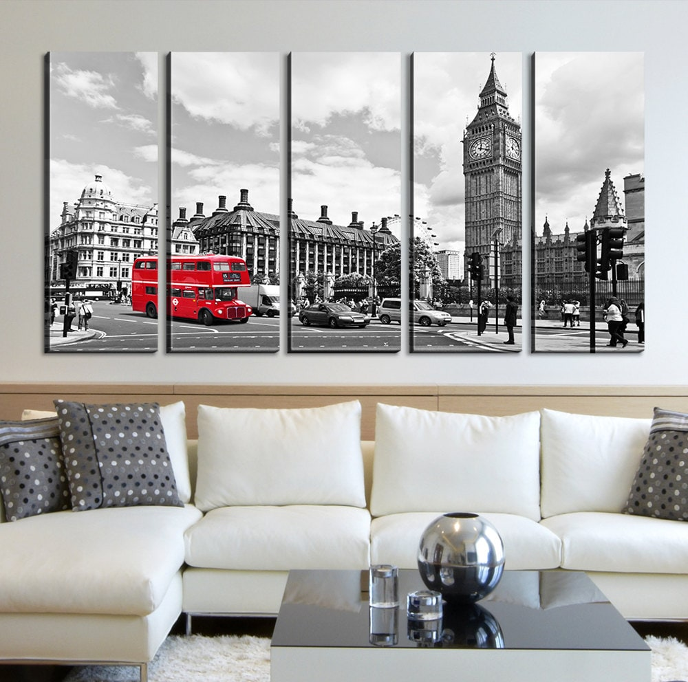 big ben and red bus in london canvas art home decor london