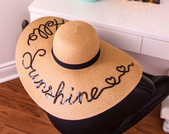 Summer hat, HAPPINESS IS... oh so happy, Fiesta no Siesta, Floppy hat -Must have this summer-unique- Personalized- Gift- Bridesmaid- Beach