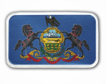 Patch - Pennsylvania State Flag - Heat Seal / Iron on Patch for jackets, shirts, tote bags, hats, beanies, cases and more!!