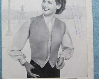 REDUCED** Vintage ladies knitting pattern, Not a PDF, knitting pattern, cardigan, ladies knitted waist coat, 1950 pattern, vintage