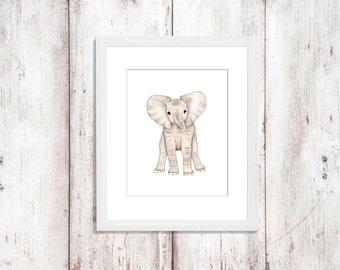 Baby animal print, elephant print, personalised baby elephant, animal prints, personalised kids room wall decor