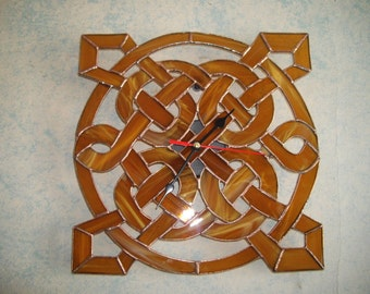 Celtic patterns / Stain Glass Clock / Celtic Gift / Stain Glass Wall Hanging / Celtic Art / Stain Glass Art / Clock Wall Decor