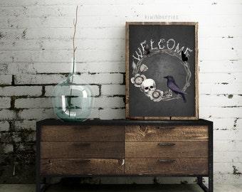 Welcome halloween sign - Halloween wall art - Halloween decorations -Halloween wreath - Halloween art prints - Halloween decor
